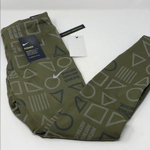 Nike epic lux tights reflective green black silver